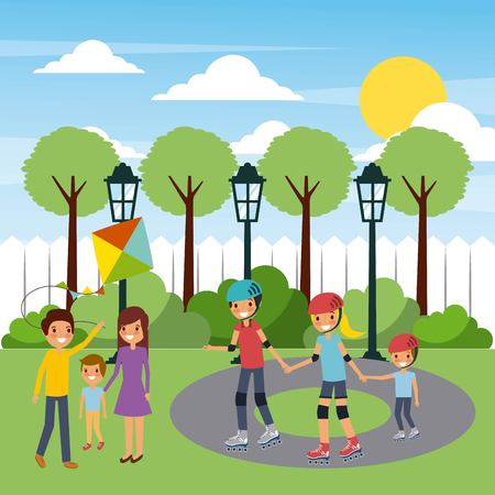 two families playing funny in the city park vector illustration Illustration