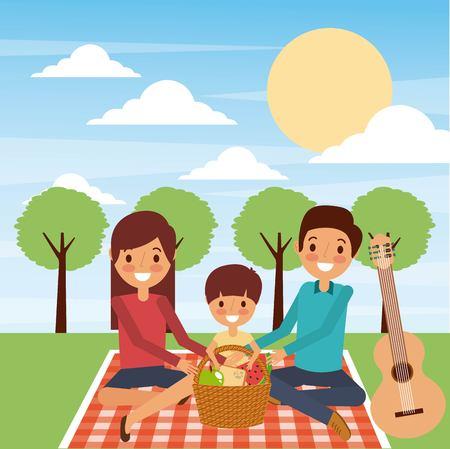 公園ベクトルイラストで毛布ディナーピクニックに座っている家族  イラスト・ベクター素材