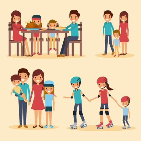 Family different activities illustration.