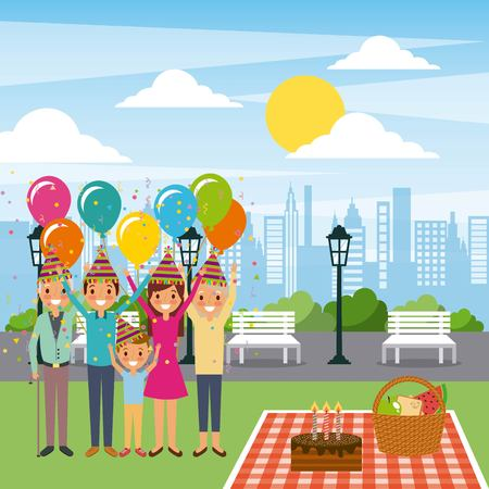 family celebrating birthday in the park with cake and decoration vector illustration Illustration