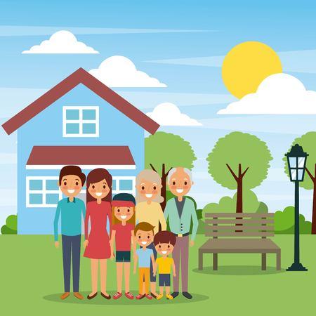 벤치 램프 태양 하루 벡터 일러스트와 함께 집 앞에 서있는 가족