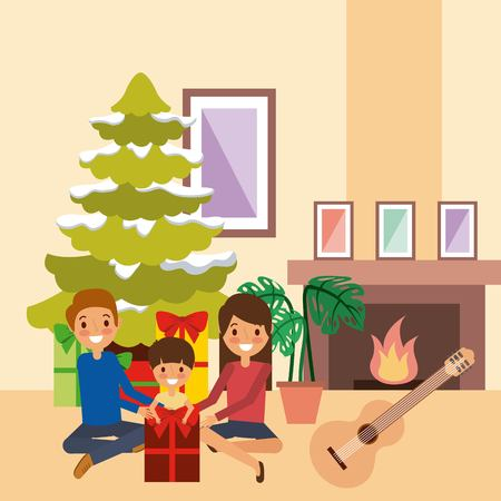 family celebrating christmas together tree chimney and music vector illustration Çizim