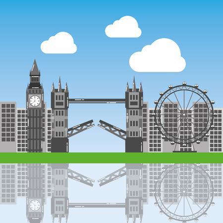 london city with famous buildings tourism england landmarks vector illustration