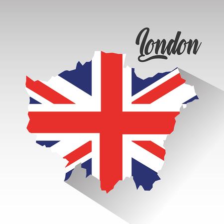 벡터 일러스트 레이 션 안에 영국 국기로 런던지도