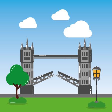 ロンドンタワーブリッジ街灯木ランドマーク風景ベクトルイラスト  イラスト・ベクター素材
