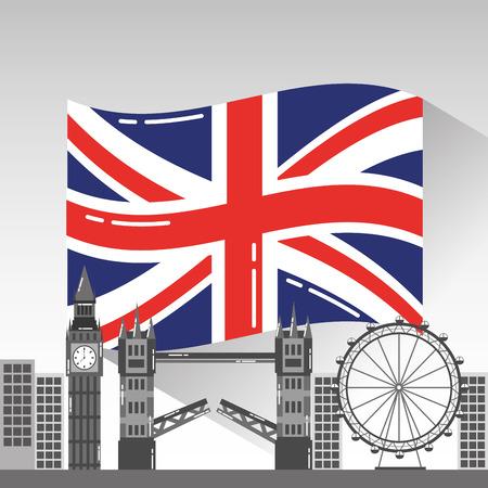 有名な建物を持つロンドン市観光イングランドのランドマークベクトルイラスト  イラスト・ベクター素材
