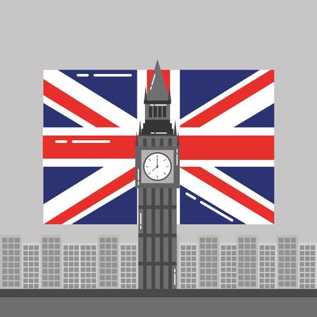 Big Ben Londen vlag Engeland en gebouwen toren landmark vector illustratie