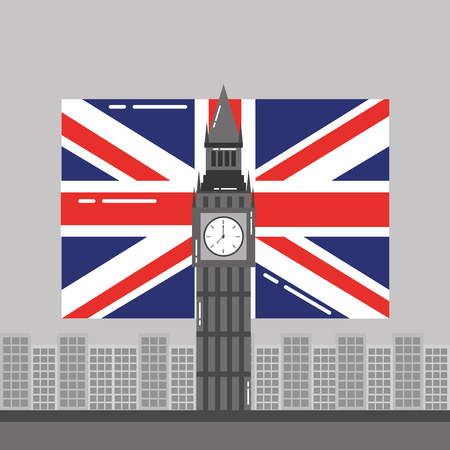 big ben london flag england and buildings tower landmark vector illustration Illustration