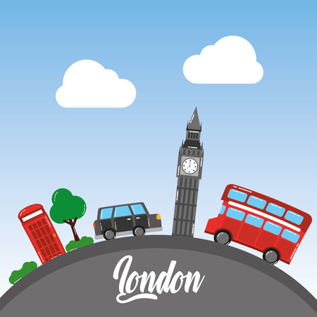 london big ben double decker bus taxi telephone booth tree sky vector illustration