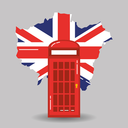 london telephone booth public traditional and map england vector illustration Çizim