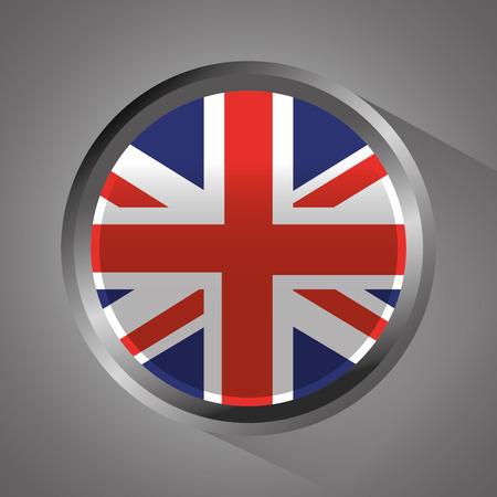 united kingdom flag badge round button vector illustration Ilustrace