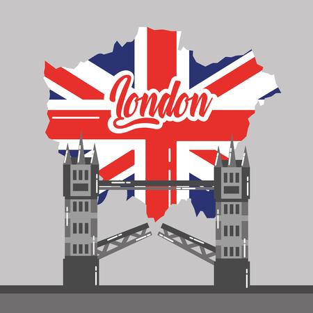 ロンドン橋建物マップ英国ランドマークベクトルイラスト