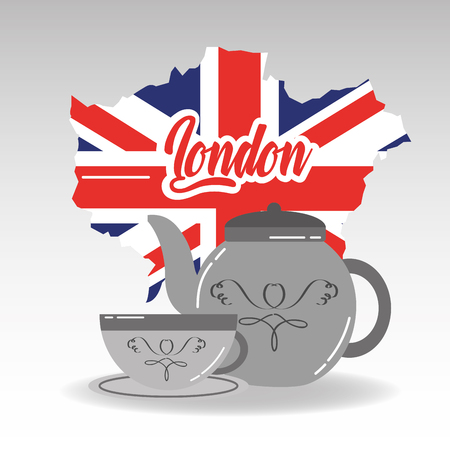 Bule de porcelana de mapa de Londres e xícara de chá com ilustração vetorial de placa Foto de archivo - 91362628