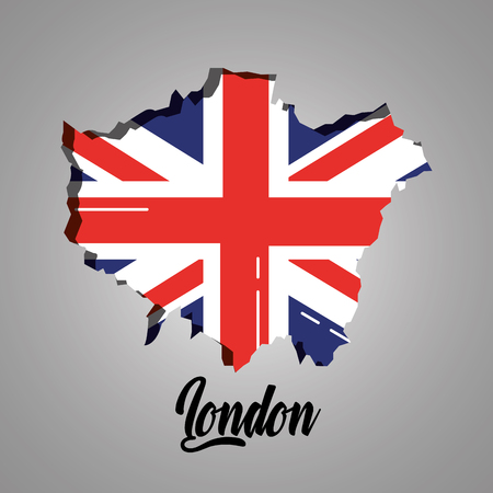london map with england flag inside vector illustration