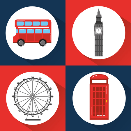 london england toruism travel landmark symbol vector illustration