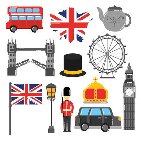 ロンドン・イングランド・トルイズム旅行ランドマークシンボルベクトルイラスト  イラスト・ベクター素材