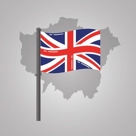 london map and great britain flag on a silver metallic pole vector illustration