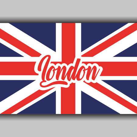 잉글랜드 국기 국가 상징 벡터 일러스트와 함께 런던 텍스트 일러스트