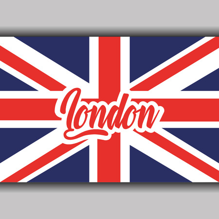 Texto de Londres con la ilustración de vector de símbolo nacional de bandera de Inglaterra Foto de archivo - 91362633