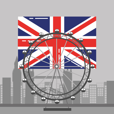 london flag british ferris wheel recreation landmark and buildings vector illustration