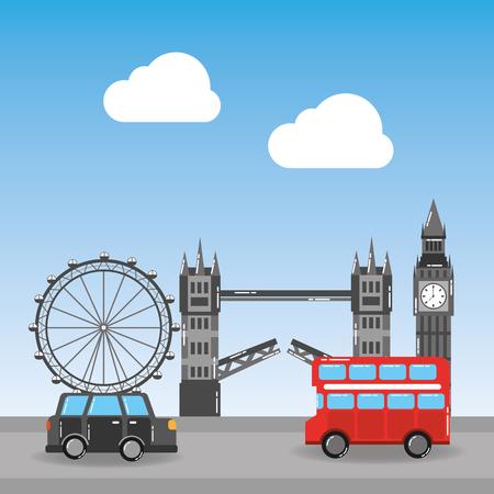london city with famous buildings tourism england landmarks vector illustration Фото со стока - 91362637
