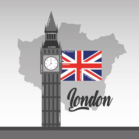ビッグベンロンドンマップとフラグ英国のランドマークベクトルイラスト