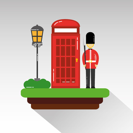 cartoon soldier of guard royal in traditional uniform cabin telephone and street lamp vector illustration