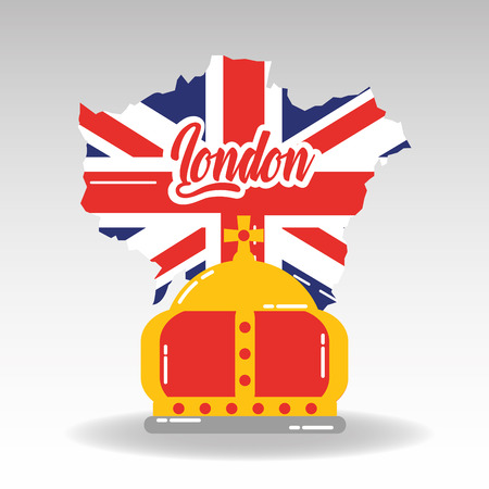 london map with england flag inside and royal crown vector illustration