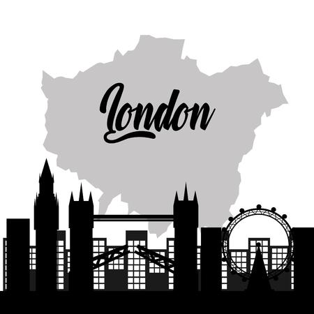 유명한 건물 관광 런던 랜드 마크 벡터 일러스트와 함께 런던 도시지도
