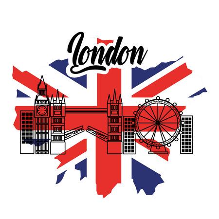 ロンドン・フラッグ・イングランド・トルイズム旅行ランドマークシンボルベクトルイラスト