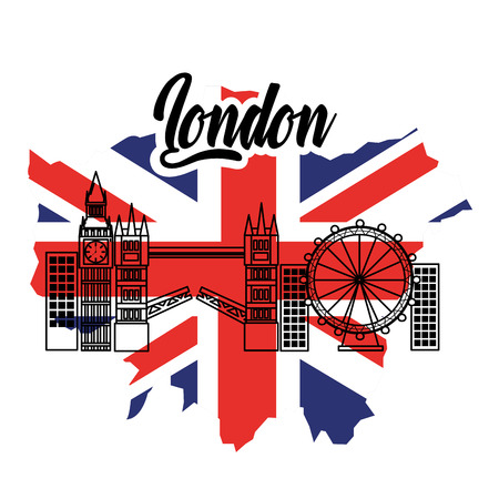 london flag england toruism travel landmark symbol vector illustration Illustration