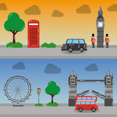 Londen Engeland toruism reizen landmark symbool vector illustratie