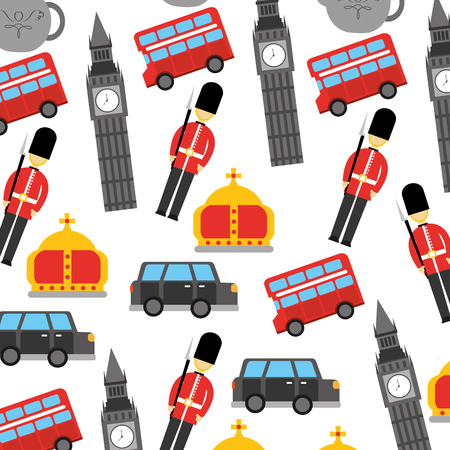 런던과 영국 왕국 도시 병사 크라운 택시 버스 큰 벤 아이콘 일러스트