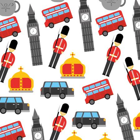 Londen en Verenigd Koninkrijk stad soldaat kroon taxi bus Big Ben pictogrammen