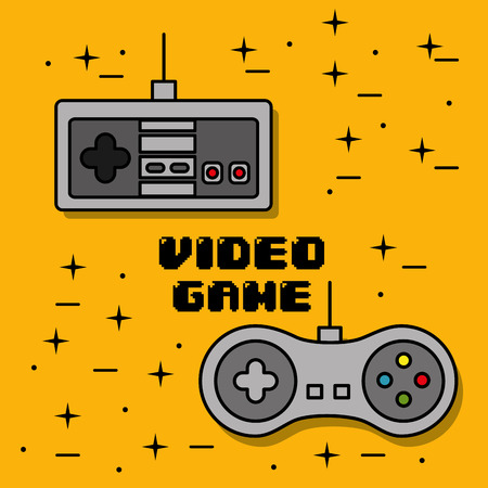 Video game control different buttons yellow background vector illustration
