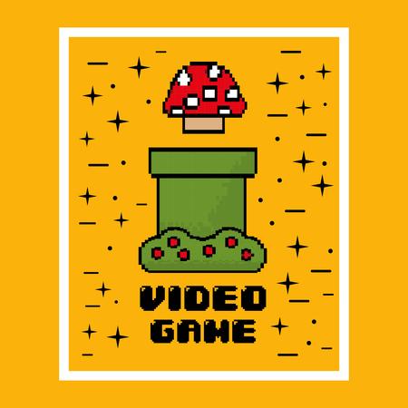 video game mushroom entertaining element play vector illustration
