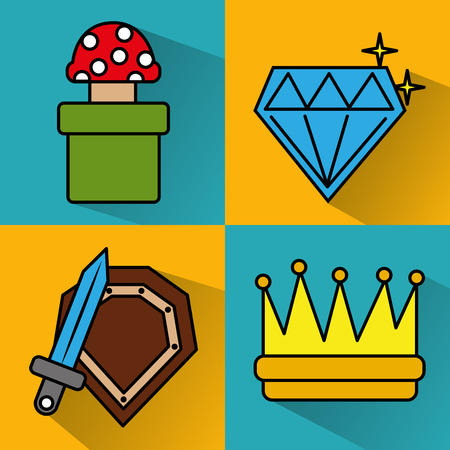 video game icons set entertainment play vector illustration