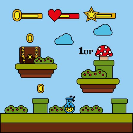 Illustrazione di vettore della pozione delle monete del fungo di petto del livello del videogioco Archivio Fotografico - 91369026