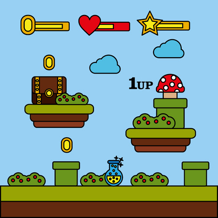 video game level chest mushroom coins potion vector illustration