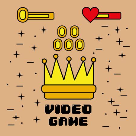 왕관의 비디오 게임 상징 동전 요소 그래픽 벡터 일러스트 레이션 스톡 콘텐츠 - 91369043