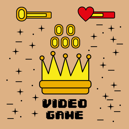 video game symbol of king crown coins element graphic vector illustration Banco de Imagens - 91369043