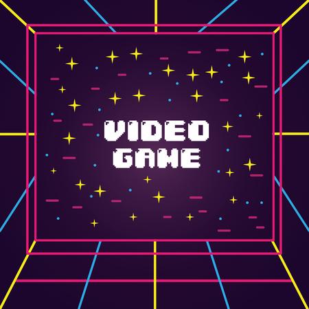 ビデオゲーム画面3Dビュービジュアル電子ベクトルイラスト  イラスト・ベクター素材