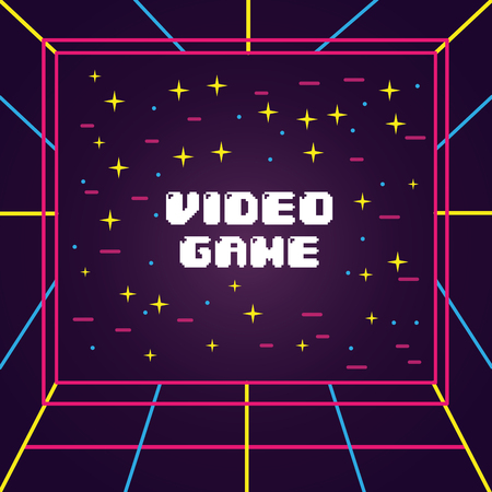 Video game screen 3d view visual electronic vector illustration Illustration