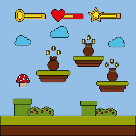 Money bag icon video game level progress entertainment vector illustration
