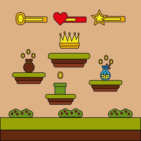 Video game crown bag money potion coins level vector illustration