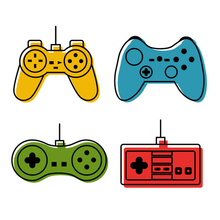 Controller console set video game different color vector illustration Illustration