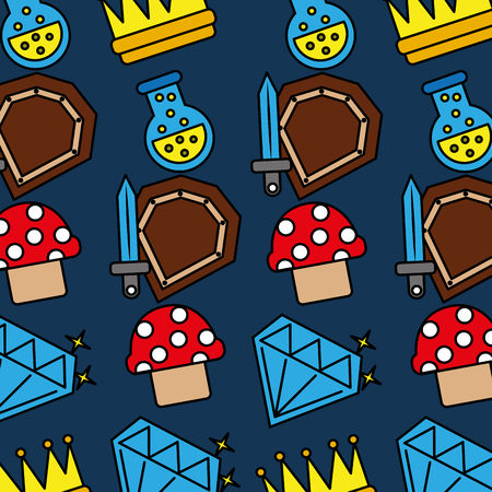 Sword shield mushroom crown potion video game pattern vector illustration