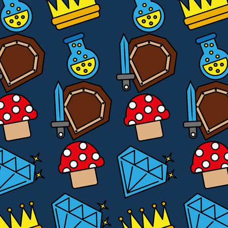Sword shield mushroom crown potion video game pattern vector illustration