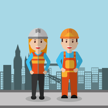 Workers woman and man construction employee, vector illustration. Иллюстрация