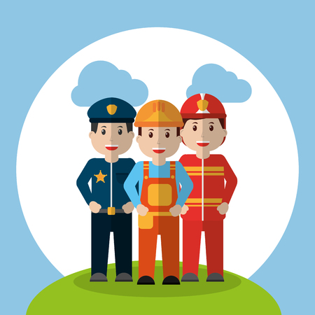 men workers - policeman fireman and foreman construction standing in meadow cloud sky vector illustration